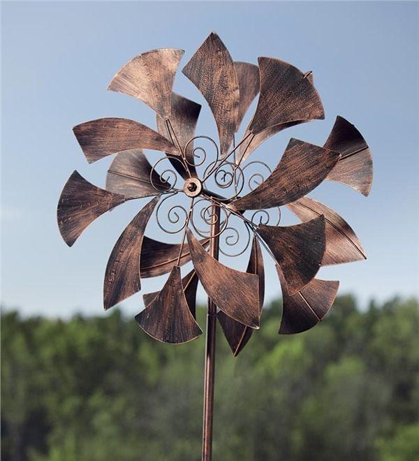 Wind Spinner Metal Sail Sculpture Outdoor Yard Garden Lawn Decor New Bronze