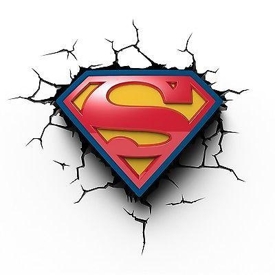Superman Logo Dc Comics 3d Wall Deco Night Light Character Night Lights Lighting Superman Tattoos Superman Art Superman