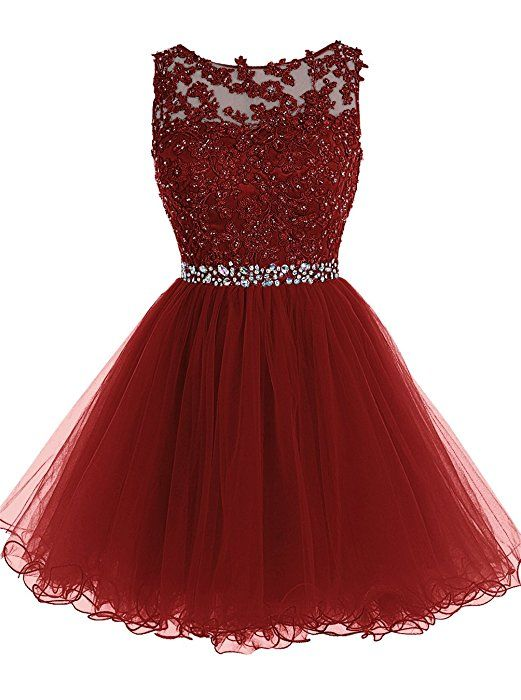 Tideclothes Short Beaded Prom Dress Tulle Applique Homecoming Dress ...