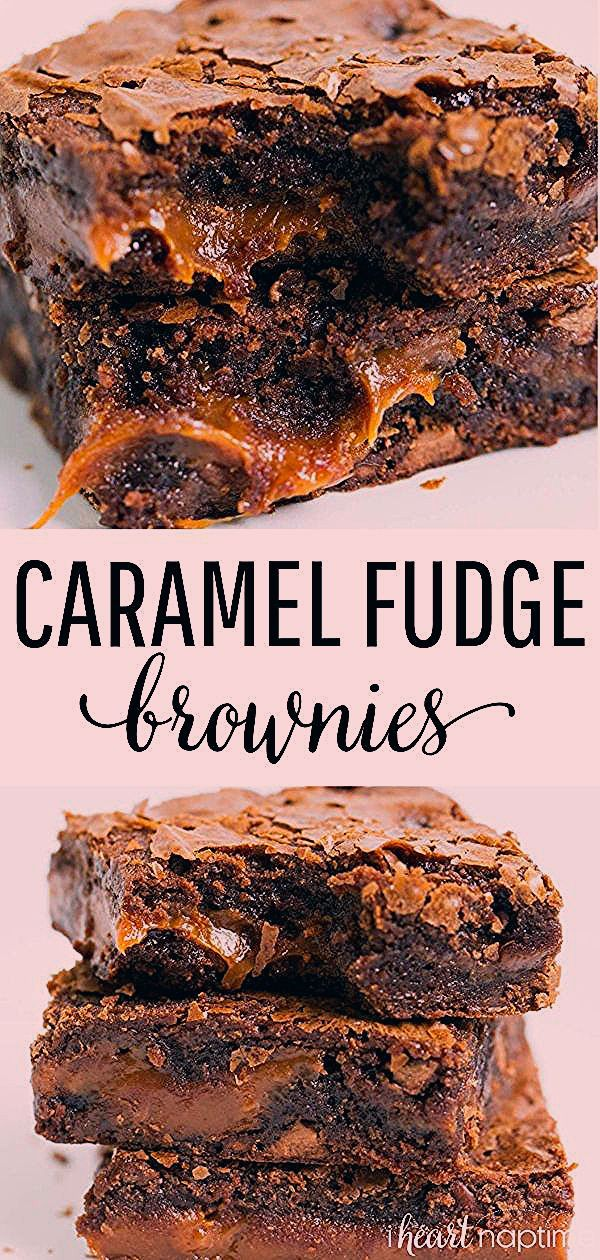 Chocolate Fudge Caramel Brownies - Easy to make brownies that are loaded with chocolate chips and l