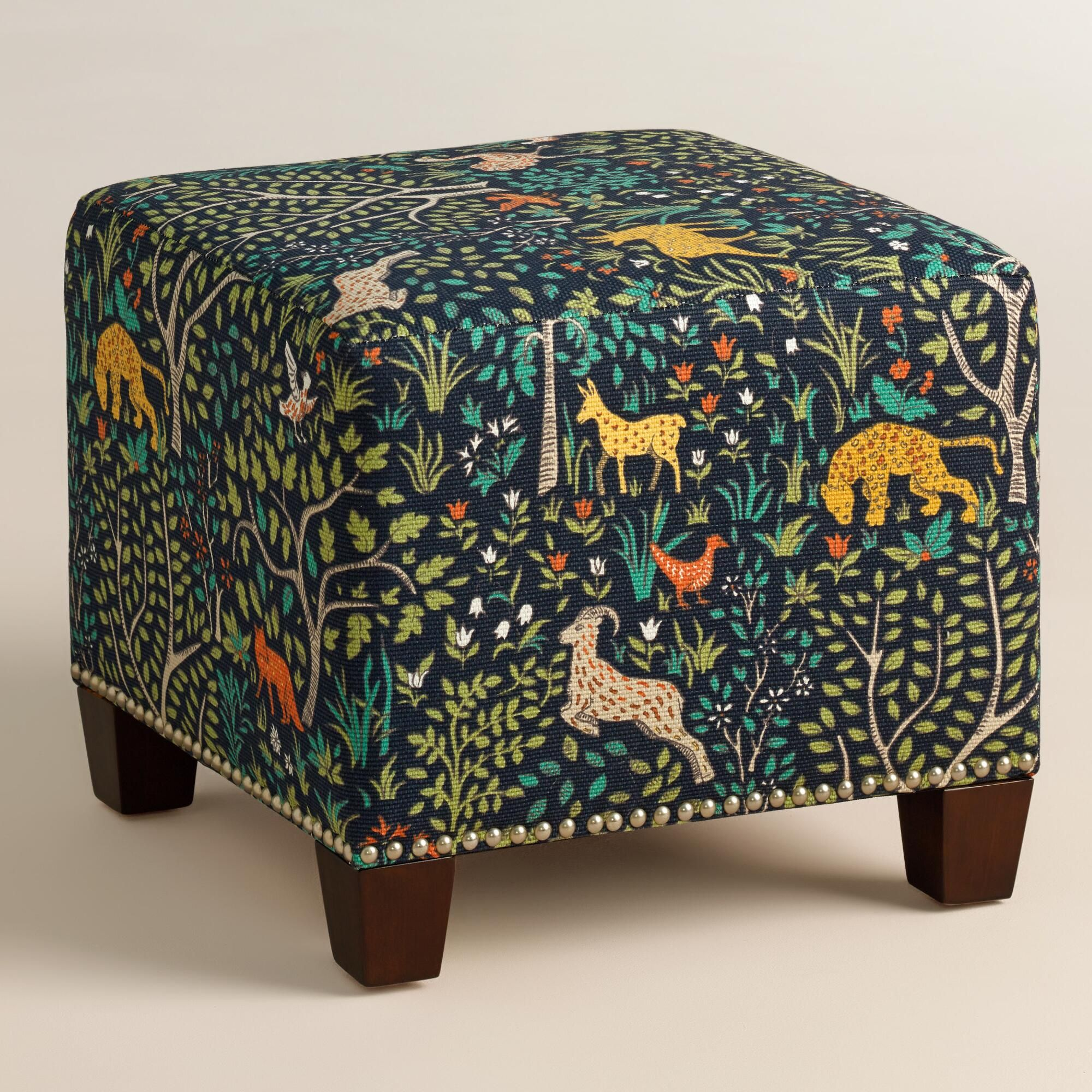 Folkland McKenzie Upholstered Ottoman | Folk art, Ottomans and Fabrics