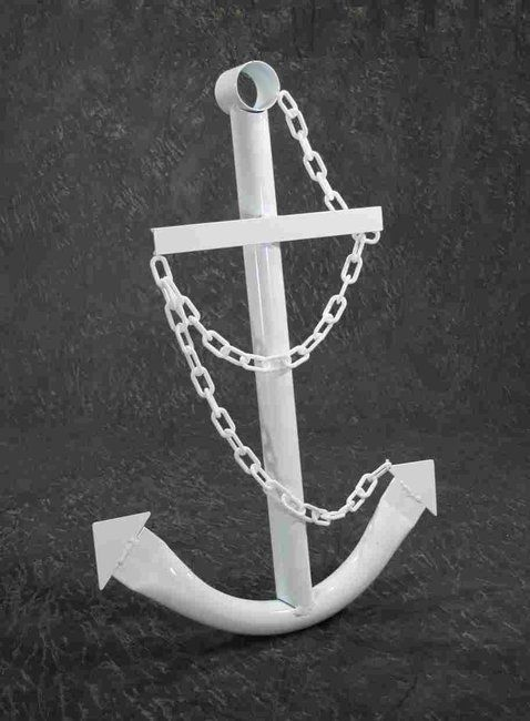 Decorative White Anchor 3' Nautical Steel Metal Wall Decor ...