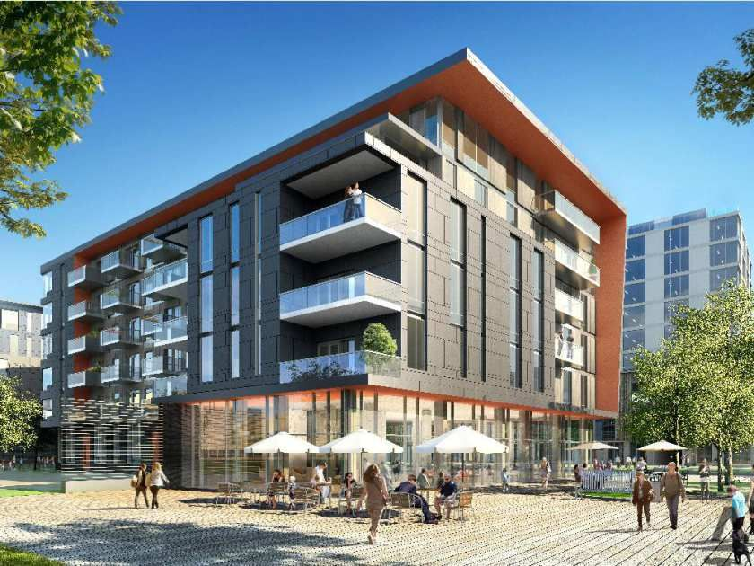 The first condo building released is six storeys and for Modern retail building design