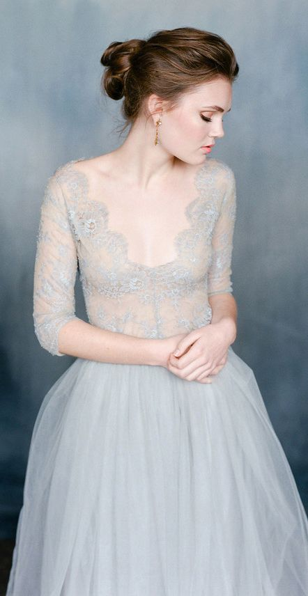 Emily Riggs Bridal - NIGHTINGALE.  Soft gray blue lace wedding dress.