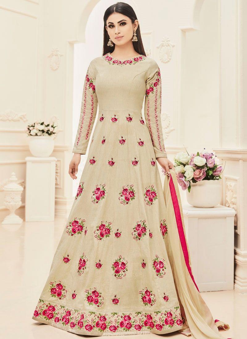 Mouni roy beige art silk floor length anarkali suit women long