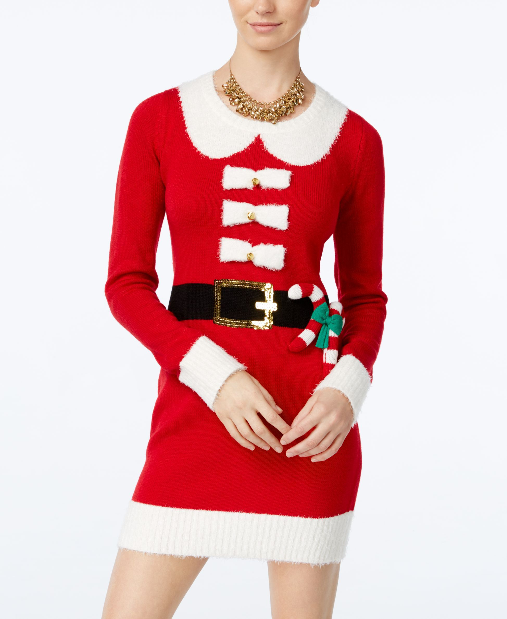 86fa28ad06cf Hooked Up by Iot Juniors' Mrs. Claus Holiday Sweater Dress | Products