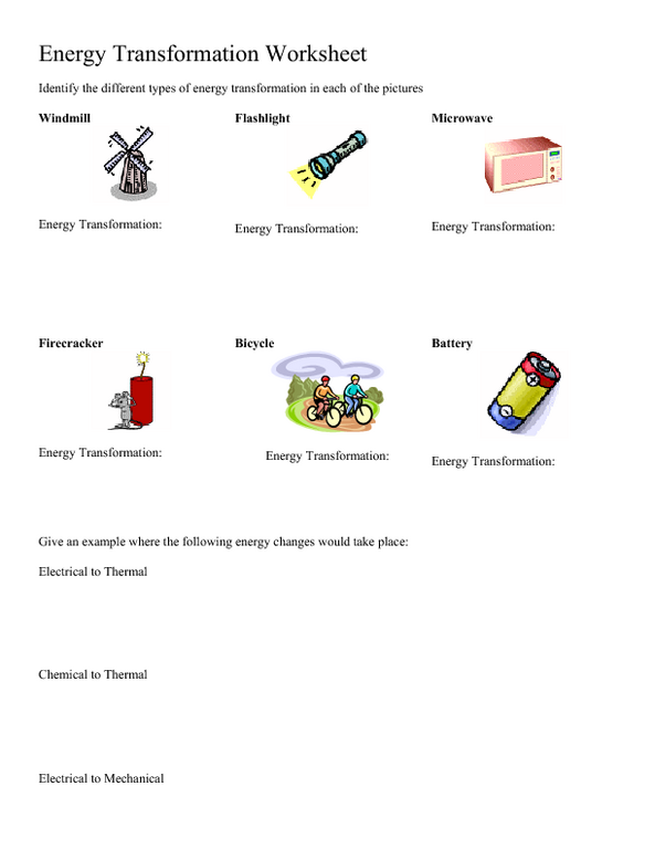 Energy Transformation Worksheet Middle School Worksheets | Education ...
