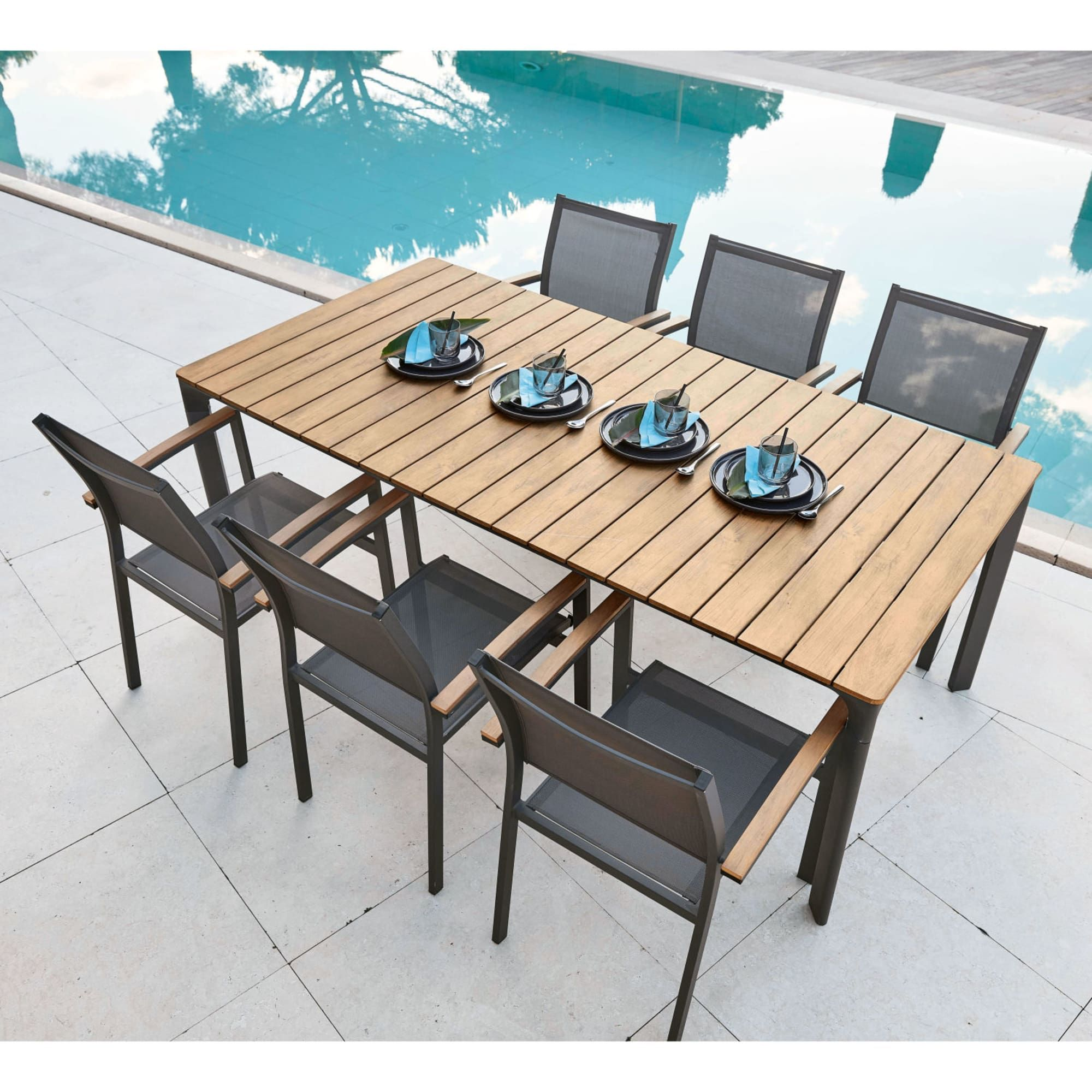 6 8 Seater Aluminium And Composite Garden Table L200 Furniture
