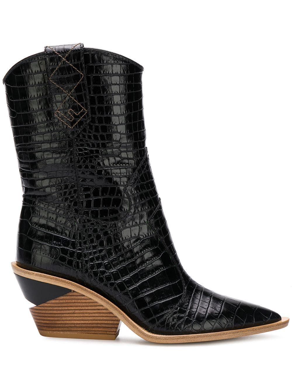 ce493ba1657 Fendi crocodile-embossed ankle boots #highfashion #chic #trending ...