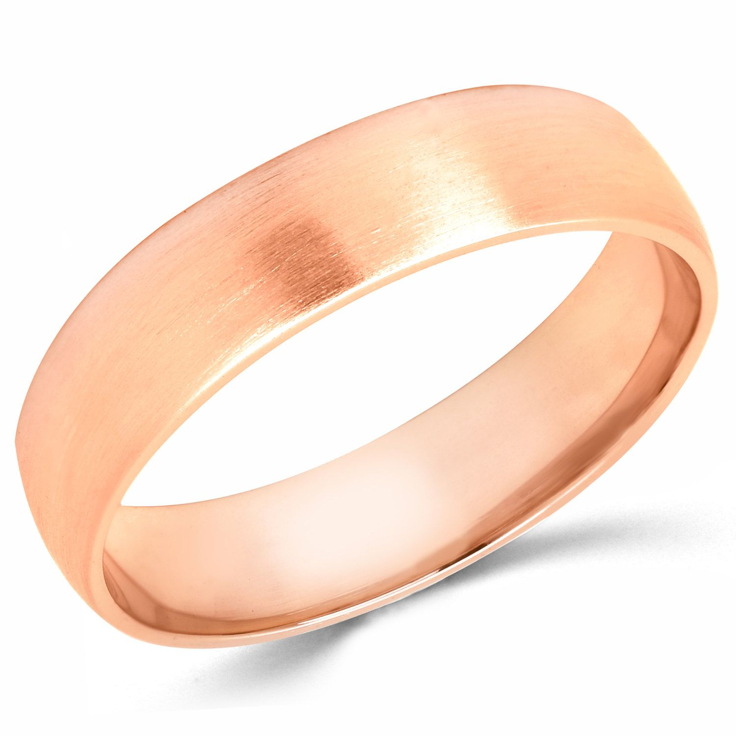 10K Solid Rose Pink Gold 5mm Brush Finish Wedding Band Ring