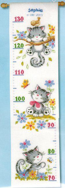 Cat Height Chart Cross Stitch Kit Point De Croix