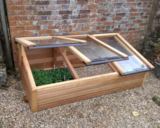 wooden cold frame with toughened glass
