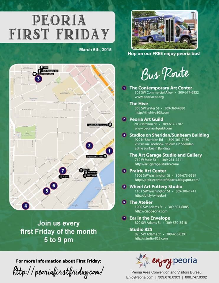 Peoria First Fridays! Hop on the bus and tour several local art studios.