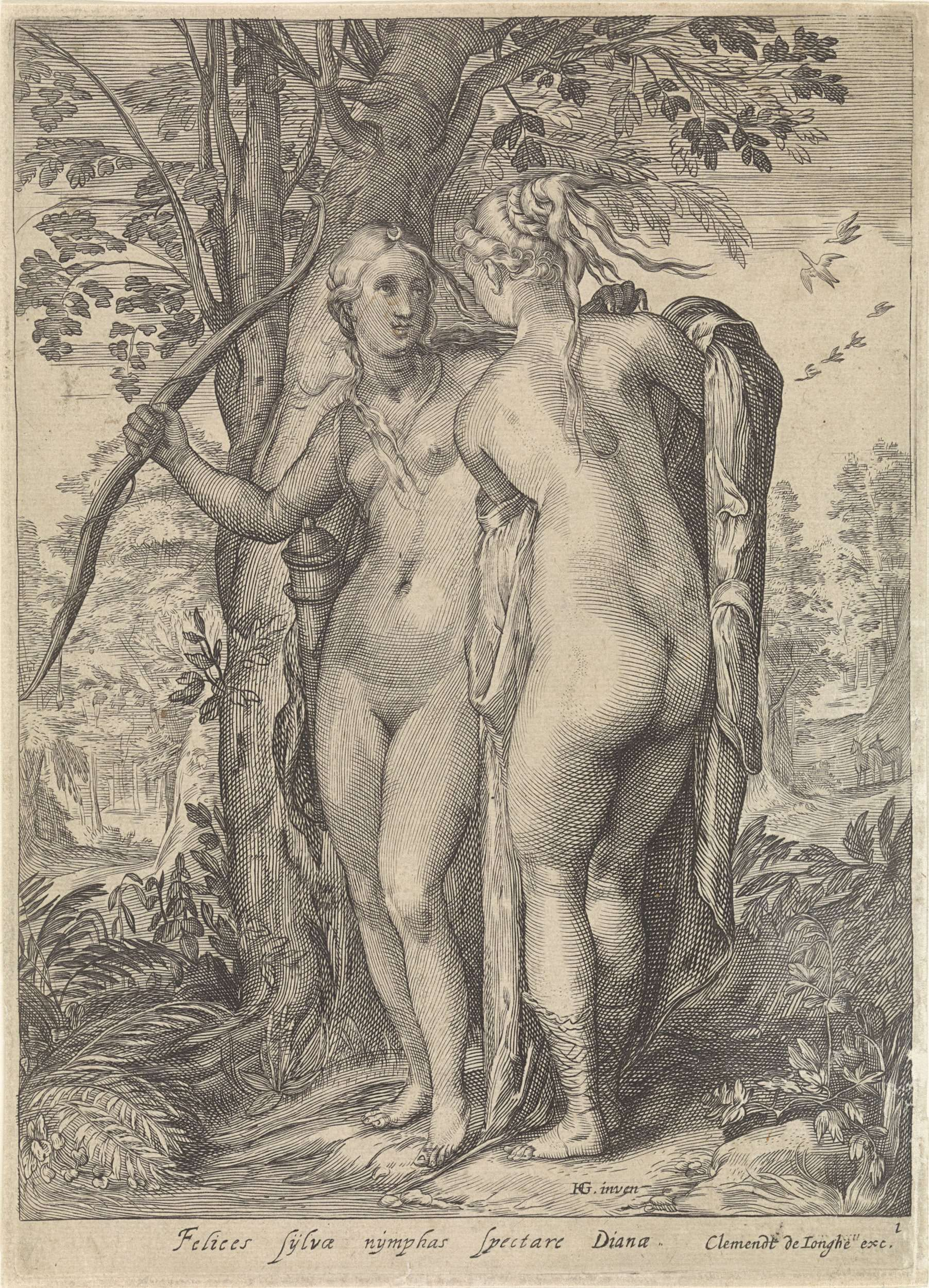 Jan Saenredam | Diana en een nimf voor een boom, Jan Saenredam, Anonymous, Clement de Jonghe, 1640 - 1670 | Voor een boom staan de naakte Diana (met pijl en boog) en een van haar nimfen. De prent maakt deel uit van een driedelige serie van Diana en haar nimfen en heeft een Latijns onderschrift.