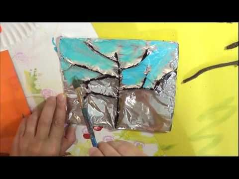 Tin Foil Embossed Trees For All Seasons – The Pinterested Parent