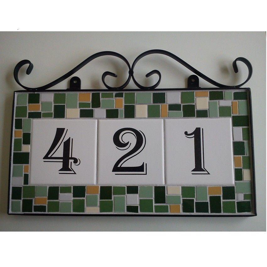 Número para casa em azulejo e mosaico Artesanato e Faça você mesmo
