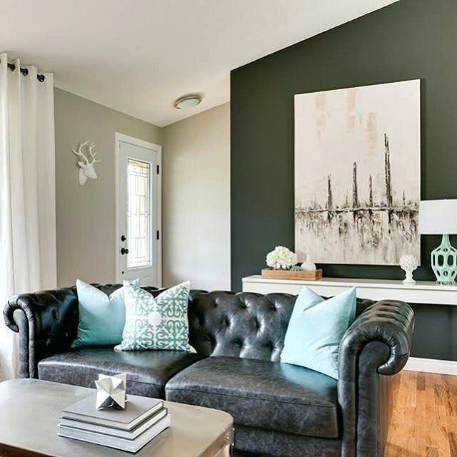 Black Leather Lounge Decorating Ideas | Living room ...