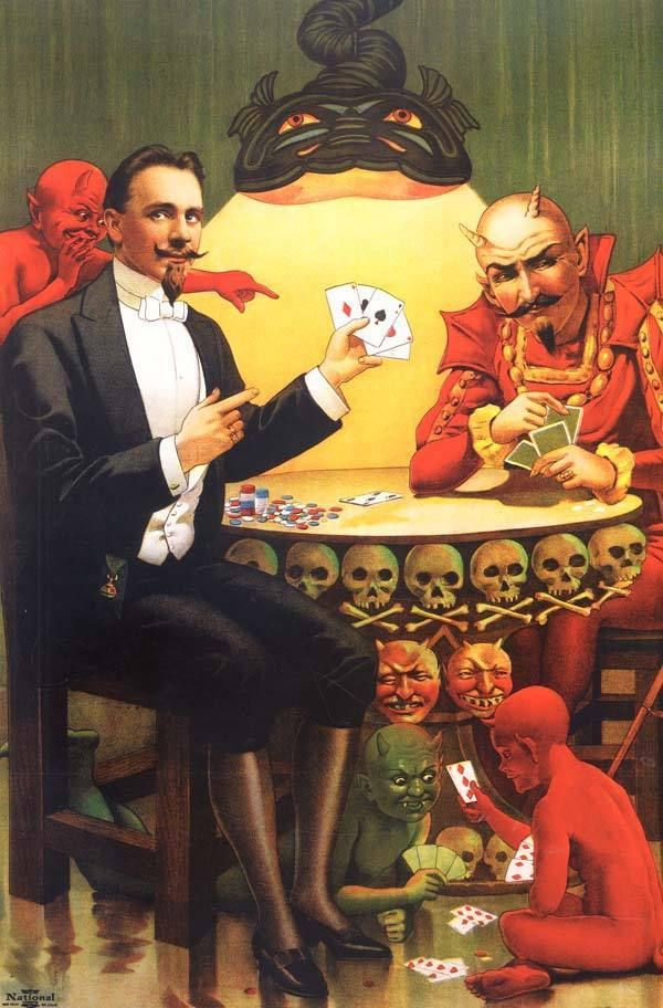 Magician And Devil Playing Poker Vintage Magic Poster Canvas Giclee