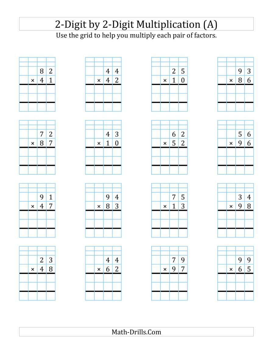 The 2 Digit By 2 Digit Multiplication With Grid Support A Math Worksheet In 2020 Multiplication Worksheets Multiplication Math Drills