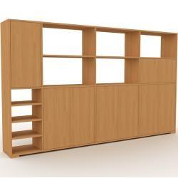 Photo of Wohnwand Eiche – Individuelle Designer-Regalwand: Türen in Eiche – Hochwertige Materialien – 265 x 1