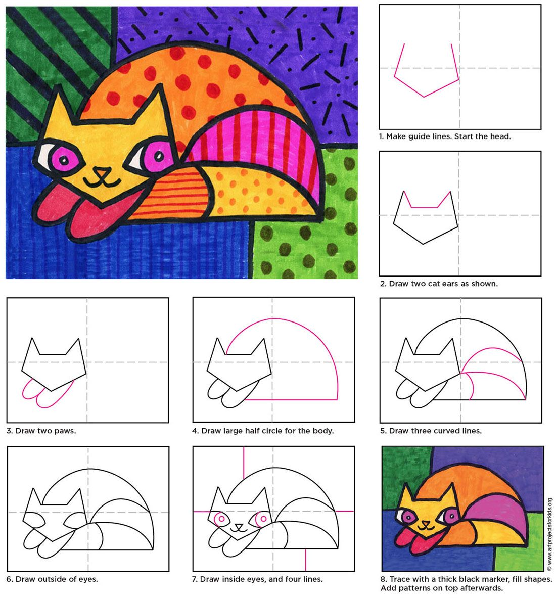 Draw a Romero Britto Cat | Art Projects for Kids