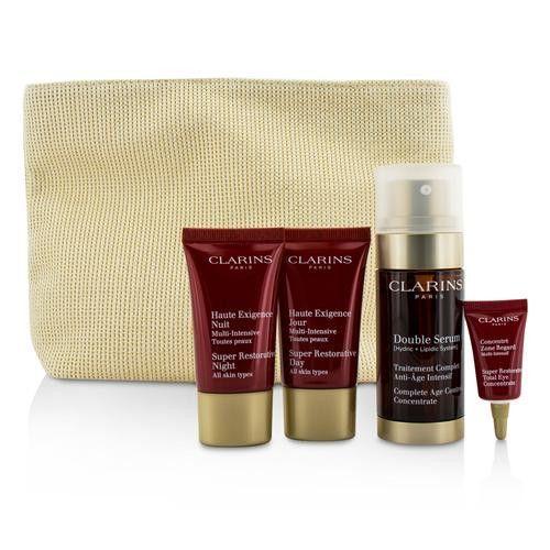 Clarins Skin-replenishing Expert Set: Double Serum 30ml + Super Restorative Day Cream 15ml + Night Cream 15ml + Eye Concentrate 3ml + Bag