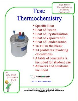 Chemistry Test: Thermochemistry | HighSchoolHerd com