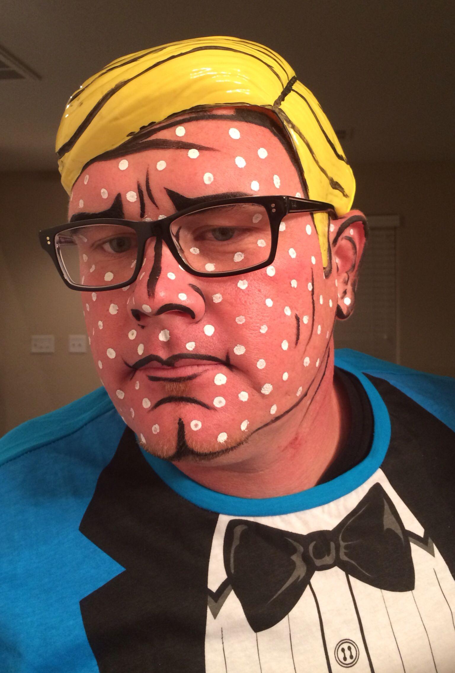 Pop Art Comic Book Man Halloween Makeup Halloween Pop Art Makeup
