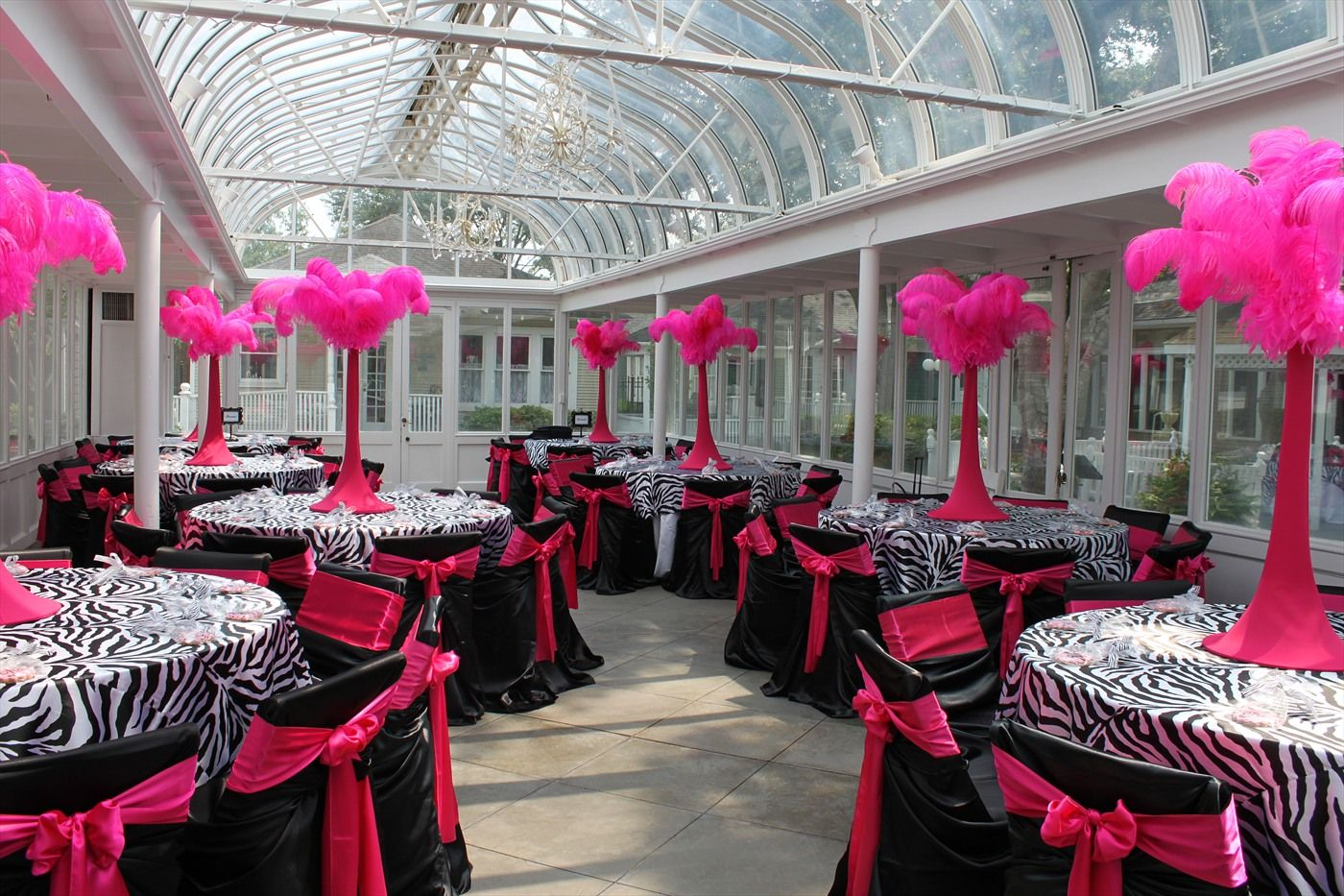 Beautiful zebra hot pink party love the centerpieces Zebra