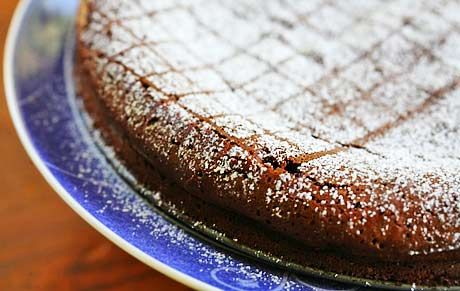 Flourless chocolate cake spiced up with a bit of chipotle powder and cinnamon, a little like Mexican hot chocolate.