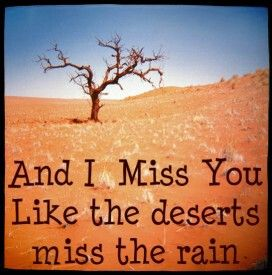 And I Miss You Like Deserts Miss The Rain I Miss You Like