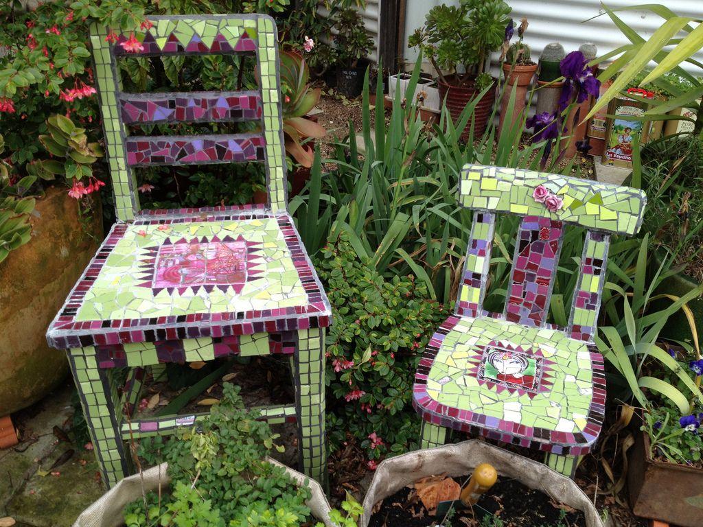 Green mosaic chairs   Mosaics, Mosaic garden and Craft