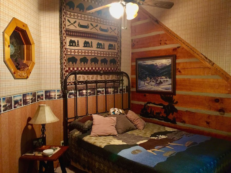 Guest Bedroom Southland Log Home Hand Hewn applachian logs