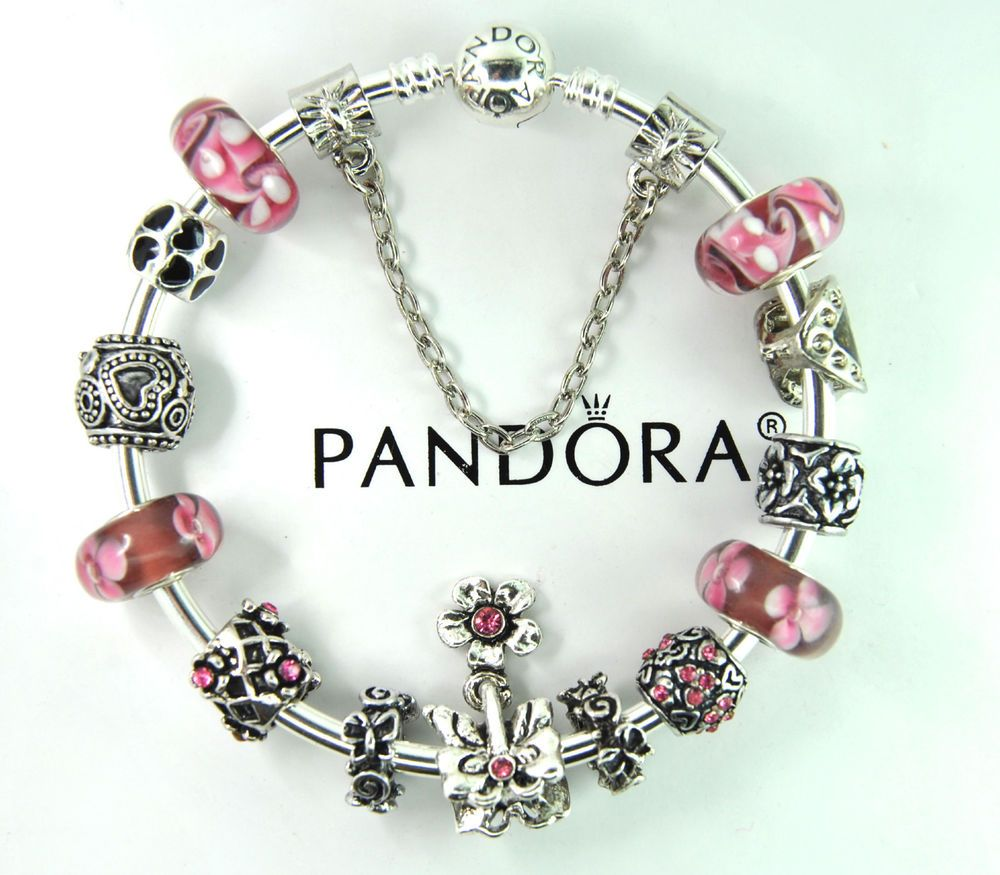 Authentic pandora silver bangle bracelet with european charm beads flower pink #Pandoralobsterbangleclaspclaw #Europeananimalheartsafetychainbutterfly