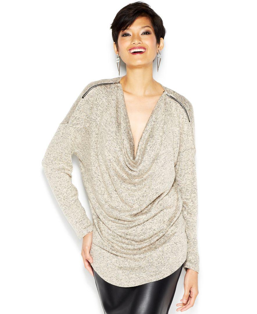 Bar Iii Dolman-Sleeve Cowl-Neck Zipper Top | Products | Pinterest ...
