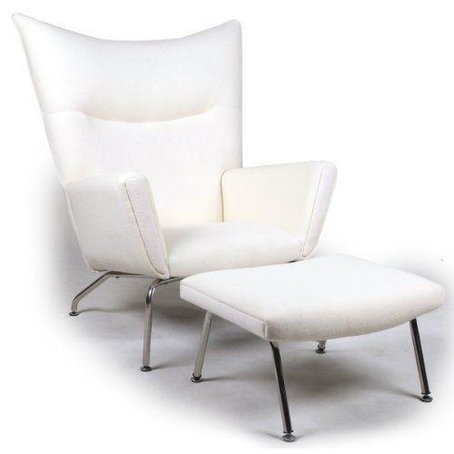 kardiel hans j wegner style wing chair ottoman white boucle