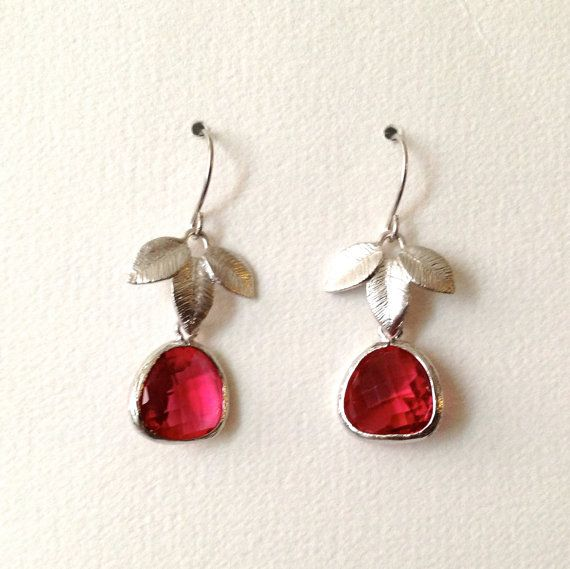 Ruby Earrings Ruby Red Drop Earrings with by PreciousSweetThings, $22.50