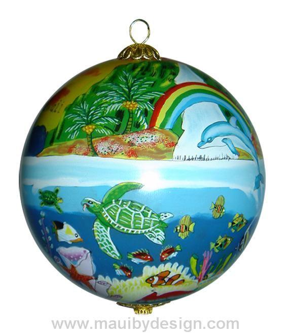 Dolphins and Rainbows Hawaiian Christmas Ornament, #DolphinOrnament,  #HawaiianChristmasornament, $19.99 - Dolphins And Rainbows Hawaiian Christmas Ornament, #DolphinOrnament