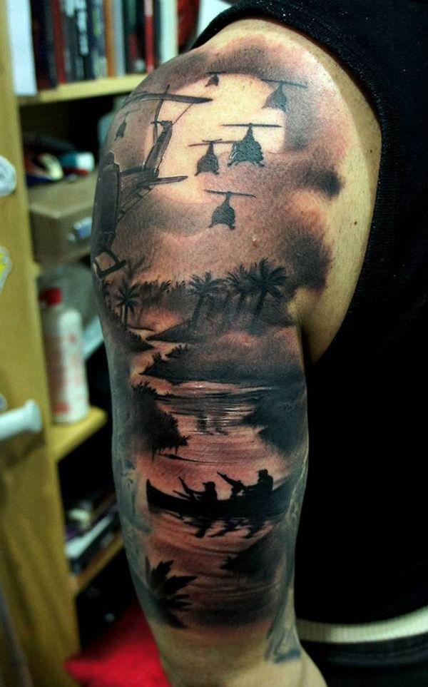 Vietnam Sleeve By Freds Badass Tattoos Military Sleeve Tattoo Best Sleeve Tattoos