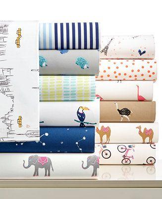 Martha Stewart Whim Collection Novelty Print Cotton Percale Sheet