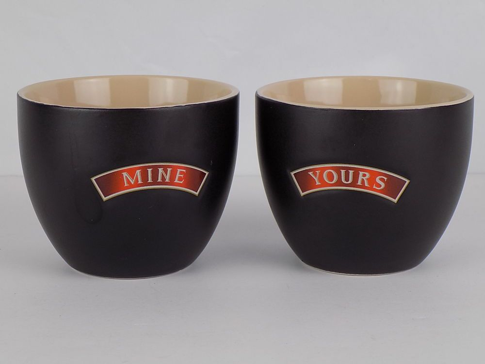 "Baileys Irish Cream Desert Ceramic Bowls Cups Mugs /""Yours /& Mine/"" Set of 2"