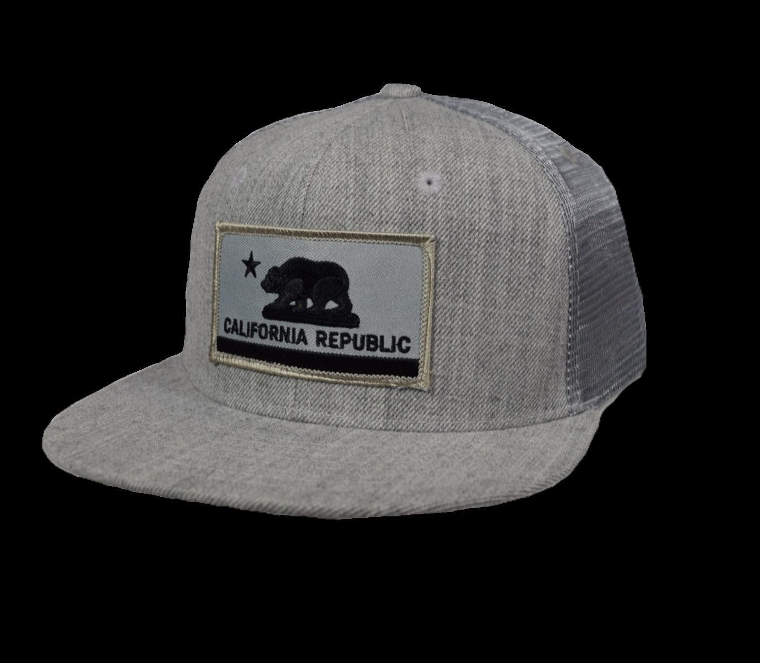6681d5581af25 California Republic Flag Trucker Hat by LET S BE IRIE - Heather Gray ...