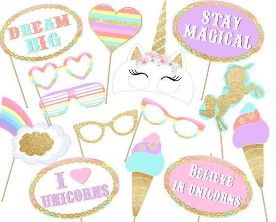 free printable unicorn photo booth props