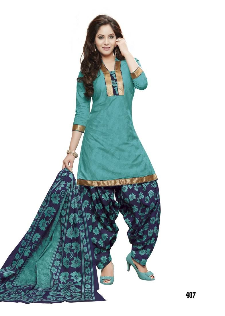 5335087d1c Green printed crepe salwar with dupatta unstitched | Dresses | How ...