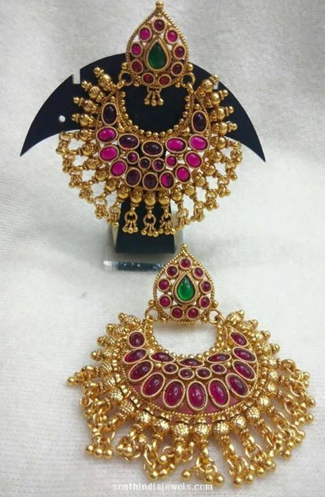 One Gram Gold Ruby Chandbalis Earrings 1