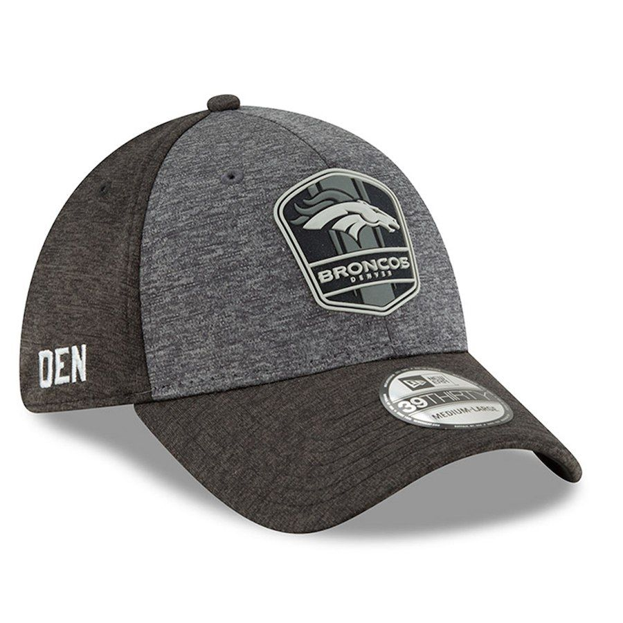 Men s Denver Broncos New Era Heather Gray Heather Black 2018 NFL Sideline  Road Graphite 39THIRTY Flex Hat fff394fc9