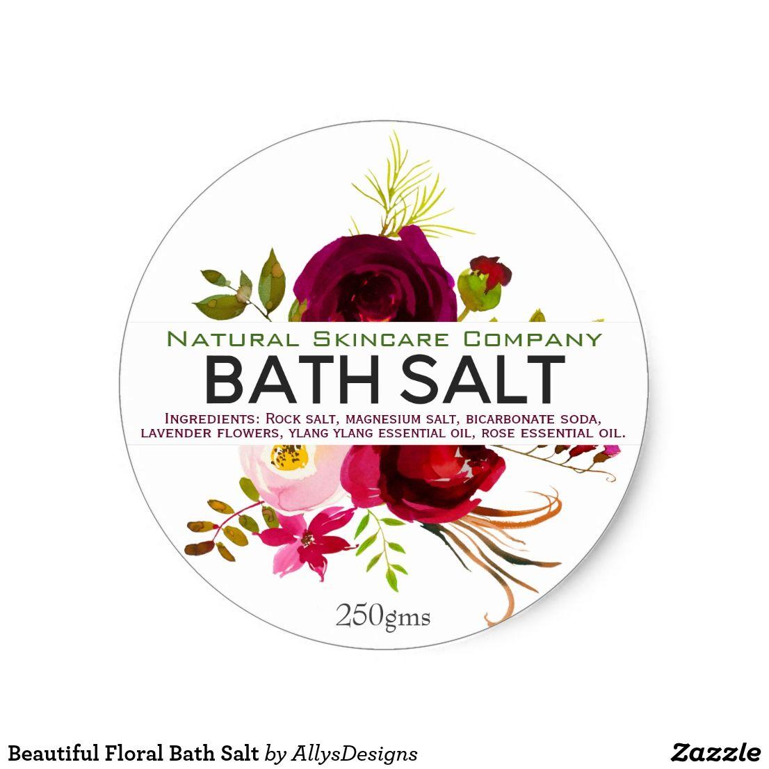 Beautiful Floral Bath Salt Classic Round Sticker Zazzle Com