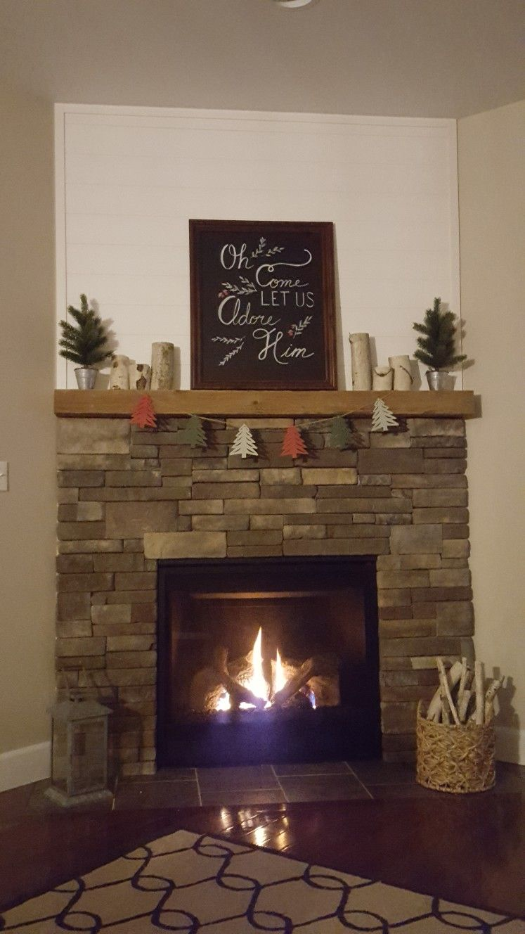 Corner Fireplace Shiplap Barn Beam Mantel Birch Candles Stacked Stone Contemporary Fireplace Modern Fireplace Fireplace Design