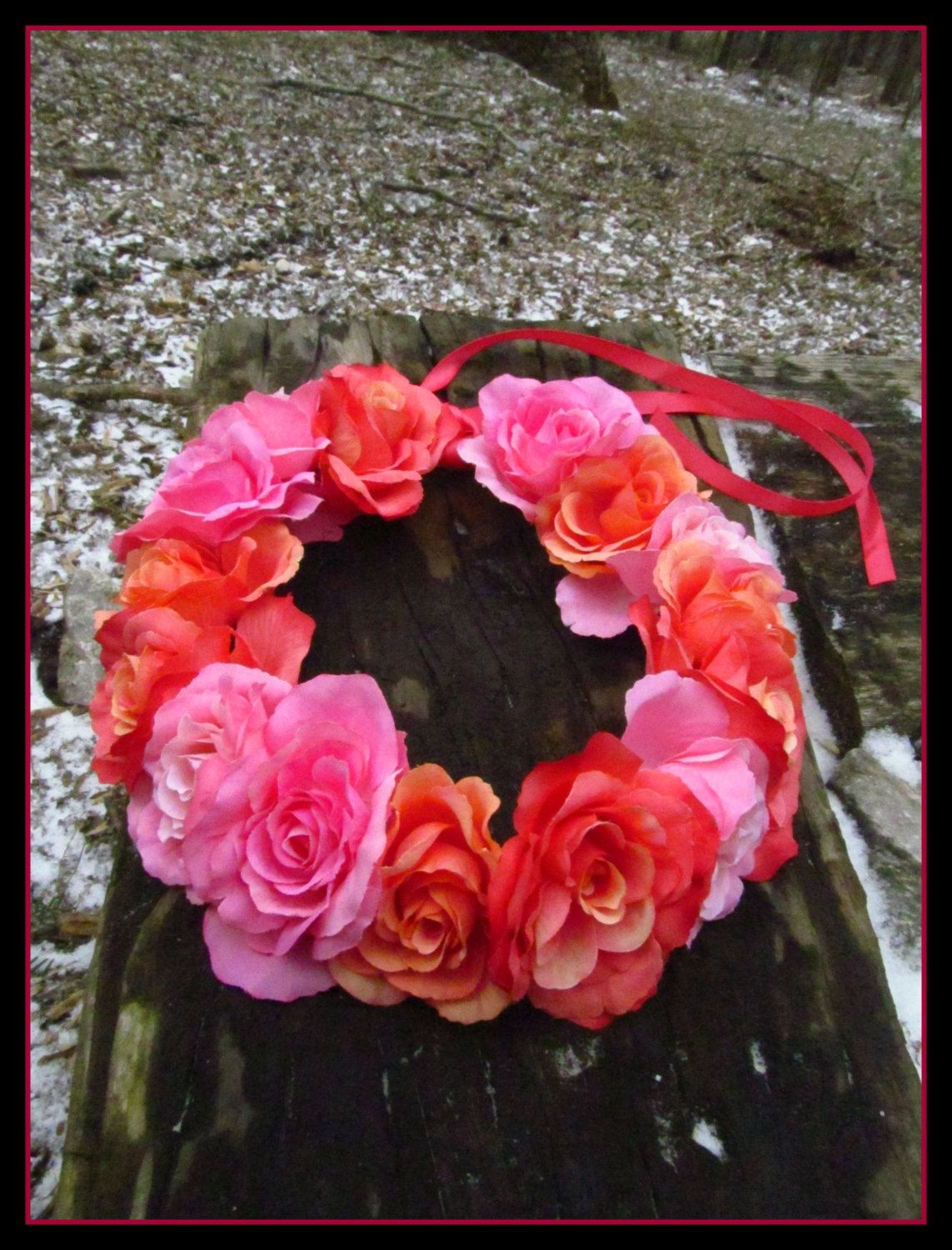 New to dieselboutique on Etsy: Rose crown festival crown pink flower crown boho flower crown coral flower crown flower girl headpiece coachella headband pink coral (36.99 USD)