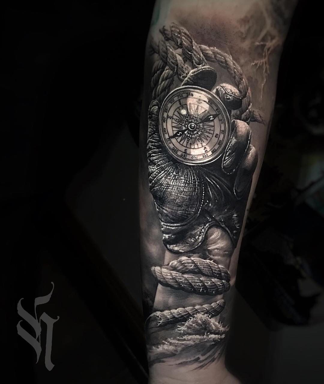 Glove Compass Tattoos Sleeve Tattoos Black White Tattoos
